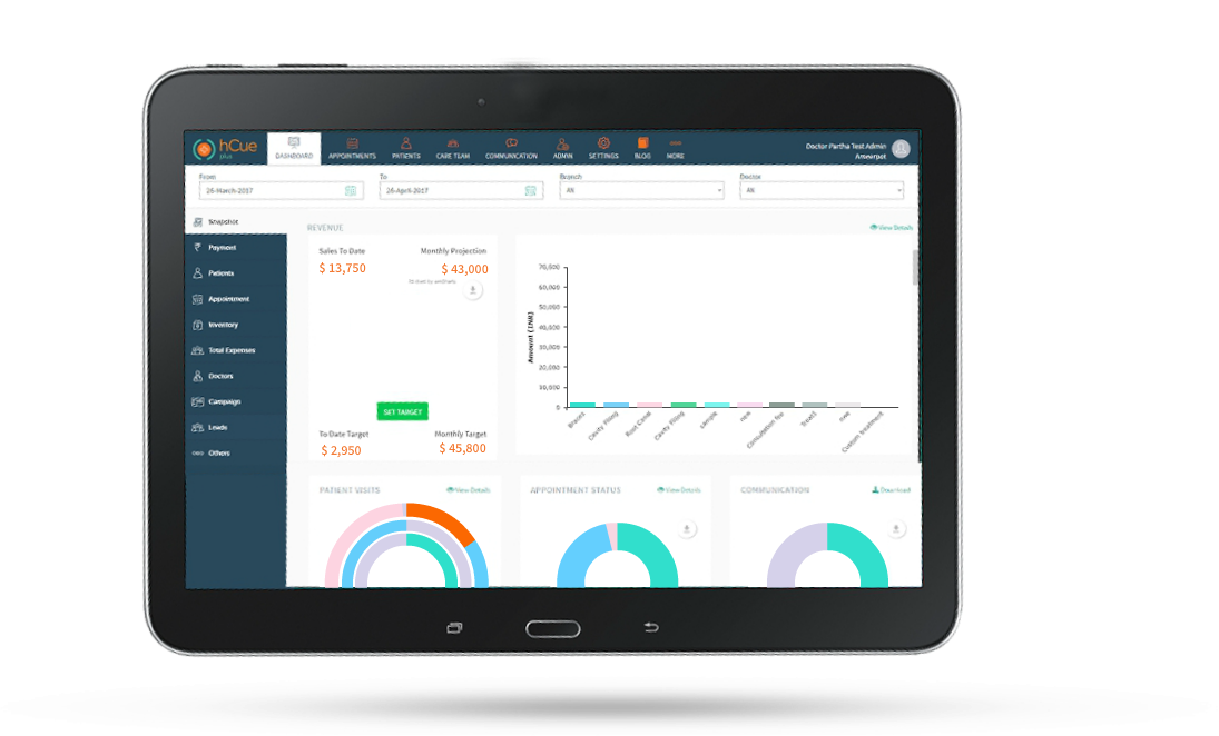 Analytics Dashboard with hCue's Dental Clinic Management Software